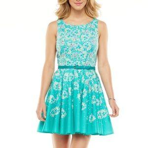 Lauren Conrad Fit & Flair Teal Floral Dress